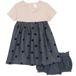 NWT Nordstrom Baby Chambray Dress Bloomer Set 24M